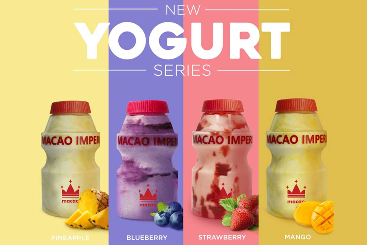 New yogurt drinks by Macao Imperial Tea, available in pineapple, blueberry, strawberry, and mango flavors
