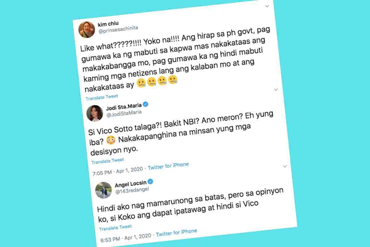 ngel Locsin, Kim Chui, Jodi Santa Maria, and other celebs support Mayor Vico. | Screenshots from Twitter