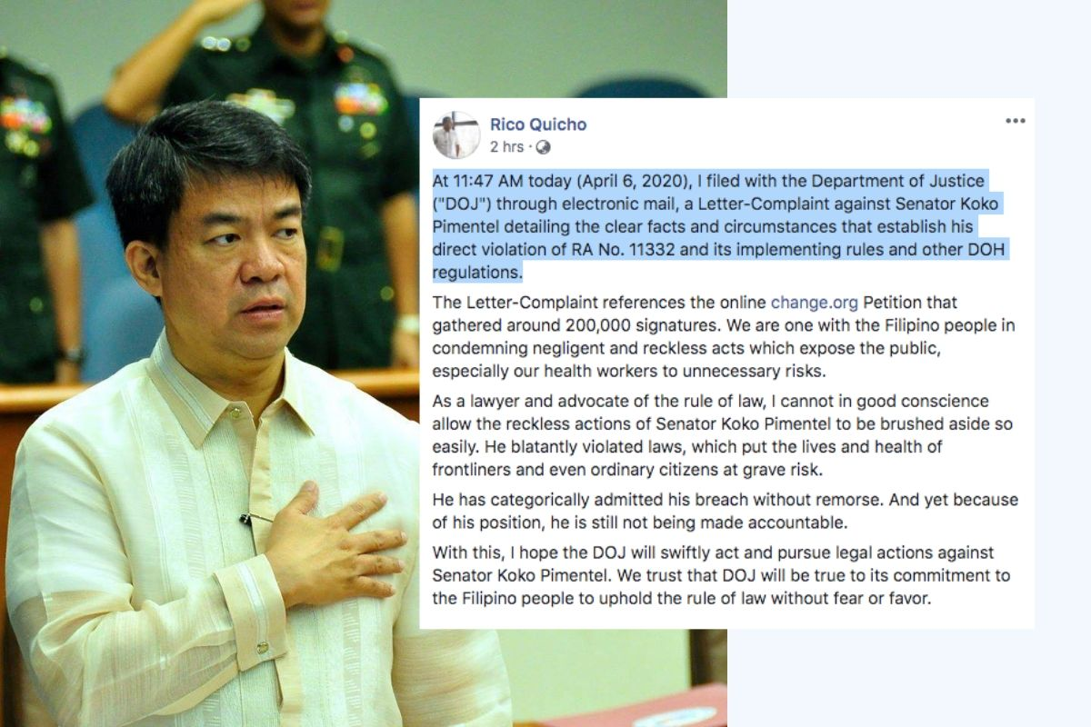 Senator Aquilino Koko Pimentel (Left), Atty. Rico Quicho's Facebook post. | Photos courtesy of Facebook
