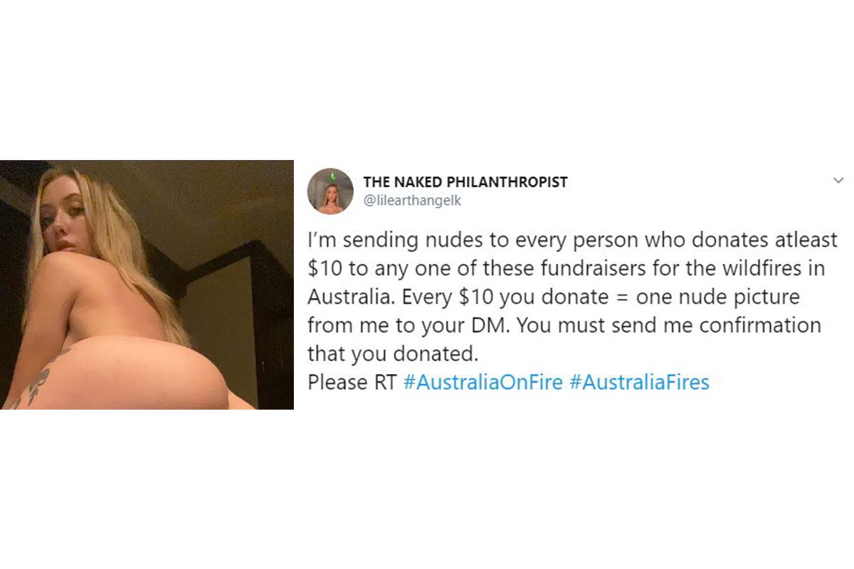 kaylen ward donate australia wildfire nude